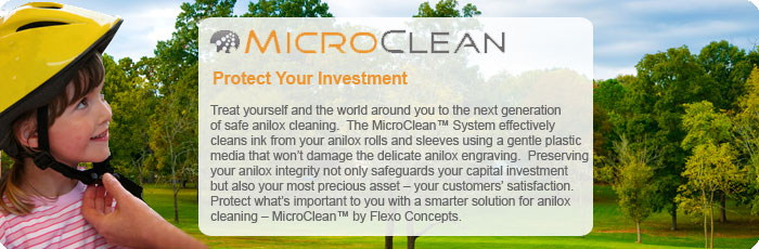 Protect Your Investment: Treat yourself and the world around you to the next generation of safe anilox cleaning. The MicroClean System effectively cleans ink from your anilox rolls and sleeves using a gentle plastic media that won't damage the delicate anilox engraving. Preserving your anilox integrity not only safeguards your capital investment but also your most precious asset - your customers' satisfaction. Protect what's important to you with a smarter solution for anilox cleaning - MicroClean by Flexo Concepts.